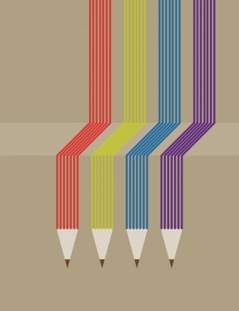 met onderwijs pictogrammen en banner van het potlood.