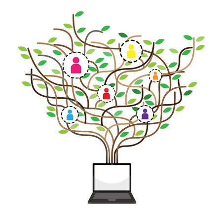with education icons and banner of the Tree, Social network background with media icons Illustration