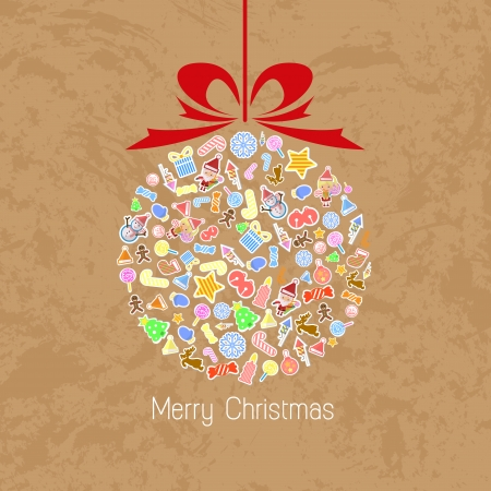 Stylized Colorful Background with Christmas Elements, Christmas tree Vector