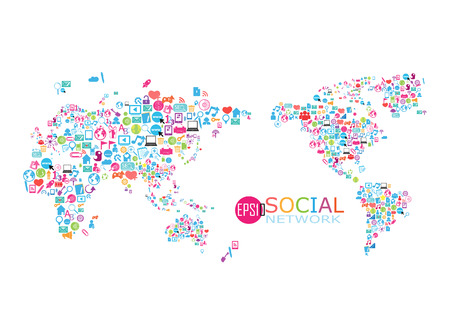 Social network map background infographics