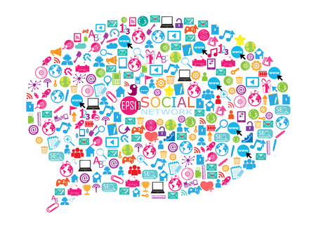 buzz: An illustration of a collage of social network buzz words and icons forming the shape of a talk bubble