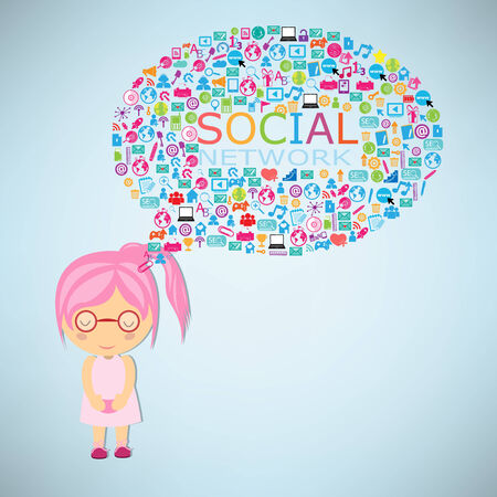 keywords bubble: Girls think social network buzz words and icons forming the shape of a talk bubble
