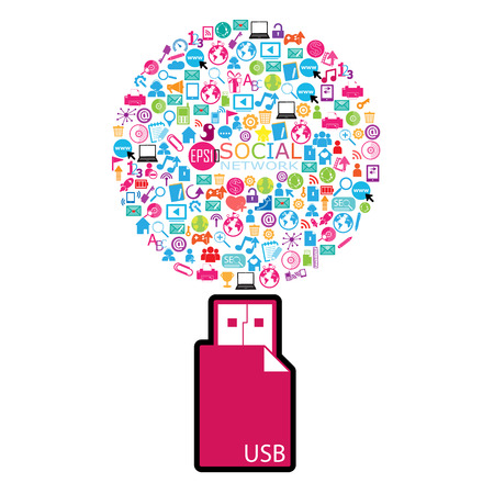 flash drive: template design with social network icons and USB Flash drive Illustration