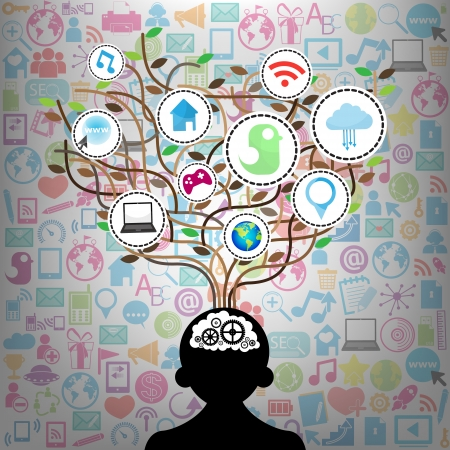 Social network education concept pencil tree with multimedia icons leaves