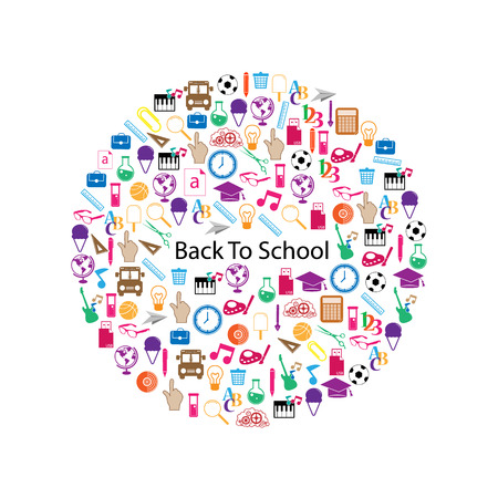 Back to School Circle Seamless icons Vector