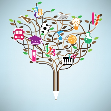 Pencil tree shaped made with school icons set illustration Vector