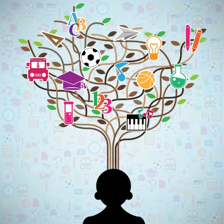 The idea of a person tree shaped made with school icons set illustration Vector