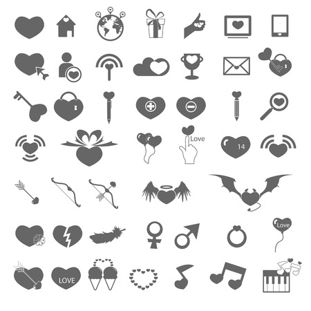 Set valentines day objects, Love icon Vector
