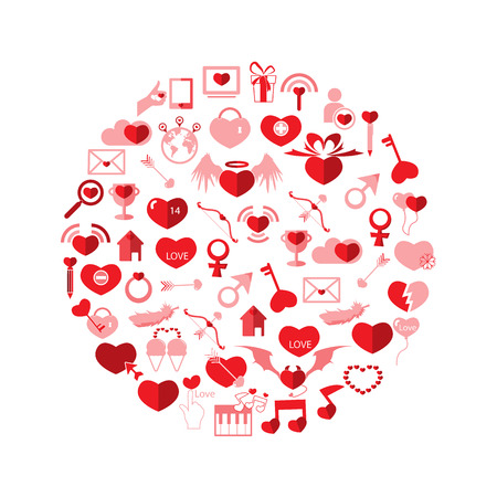 Template Circle Valentines day, Love icon Vector