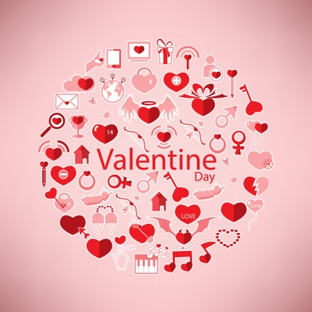 Template Circle Valentine's day, Love icon Vector