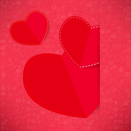 Red paper heart Valentines day card with sign on Icon love background Vector