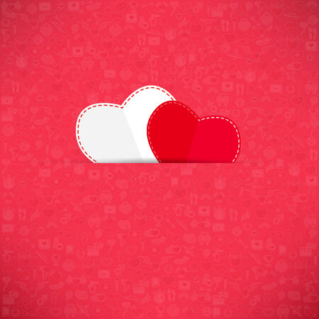 Red paper heart Valentines day card with sign on Icon love background photo