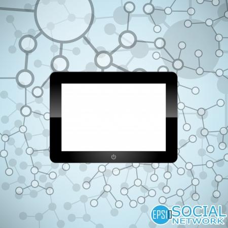 digital tablet: Digital tablet Molecule And Communication Background - Vector Illustration, Graphic Design Useful For Your Design Illustration