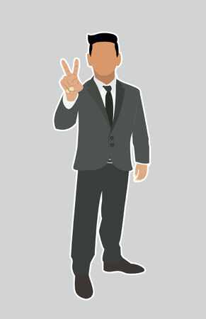 Businessman Holds two fingers black web icon. vector illustration Vector