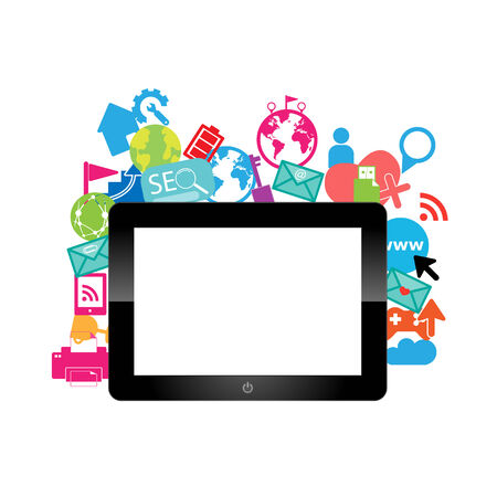 digital tablet: Template design digital tablet idea with social network icons background