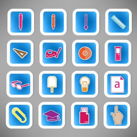 iconos educacion: Educaci�n escolar Icons Vectores