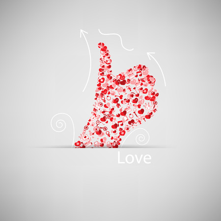 Template design Like symbol icon Valentine's day idea illustration Vector