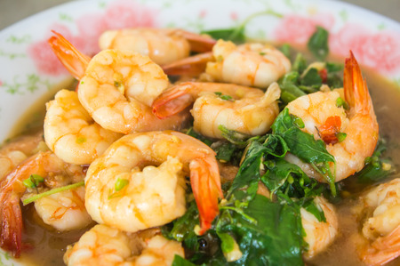 Thai food, shrimp with chili pepper photo