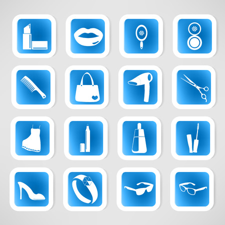 Cosmetic, make up and beauty icons. Stock Vector - 26264423