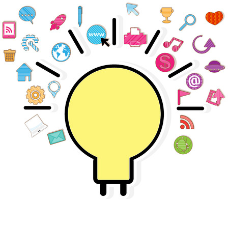 Template design light bulb idea with social network icons background Vector