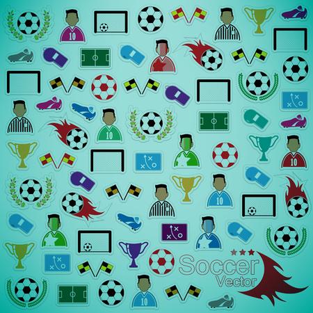 goal cage: Soccer background Icons set. Illustration eps10 Illustration