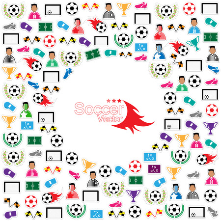 goal cage: Soccer circle Icons set. Illustration eps10 Illustration