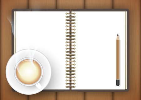 Blank notebook with coffee cup on table- Vector Vector