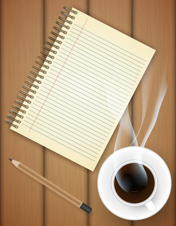 log book: Blank notebook with coffee cup on table- Vector Illustration