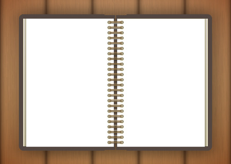 notebook page: Open notebook page on wooden background - Vector illustration