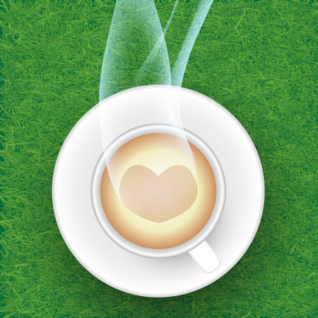 gramineas: Taza de caf� contra el Fondo de pastos.
