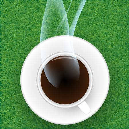 gramineas: Taza de caf� contra el fondo hierbas.