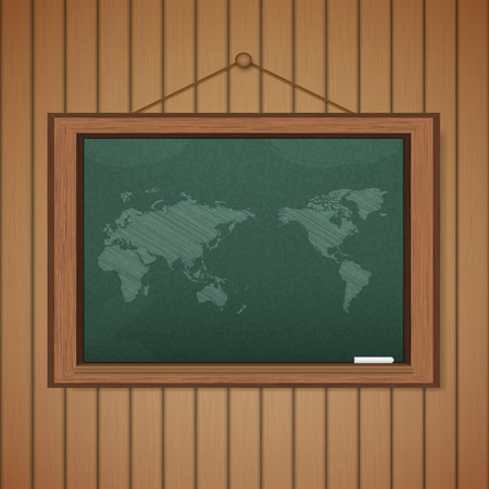 Realistic blackboard on wooden background drawing a Map Vector