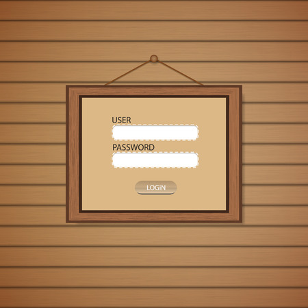 Picture frame Web login form template. Vector