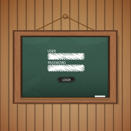 Realistic blackboard Web login form template. Vector