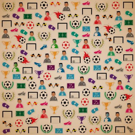 goal cage: Soccer background Icons set. Illustration
