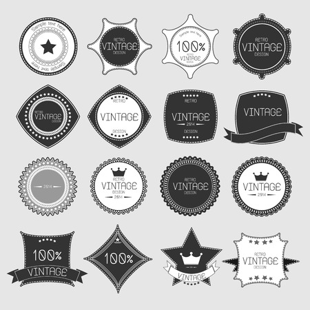 Set of blank retro vintage badges and labels