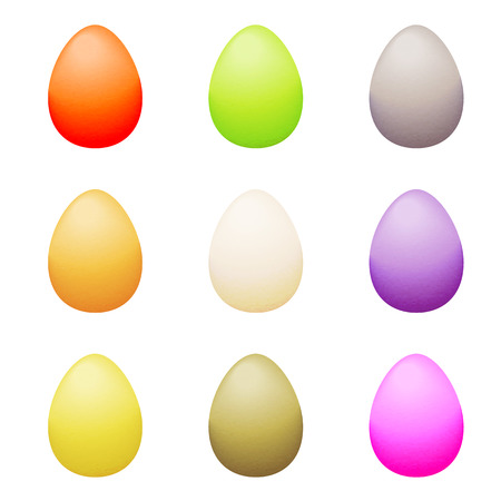 canvass: Illustration of a dozen of easter eggs on a white background
