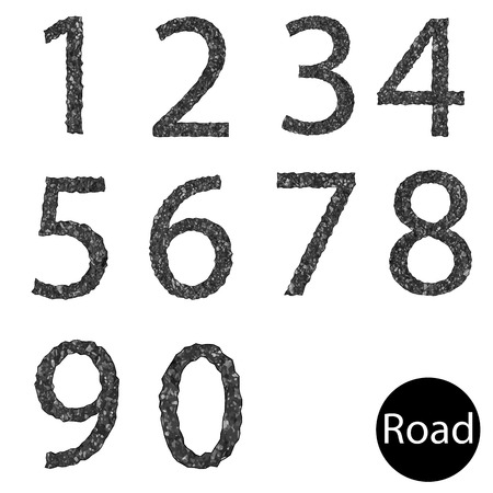 Set number asphalt texture Vector