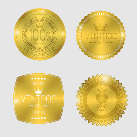 Guarantee of blank round polished gold metal badges on white background.
