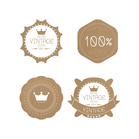 Set of grunge paper texture retro vintage badges and labels Vector