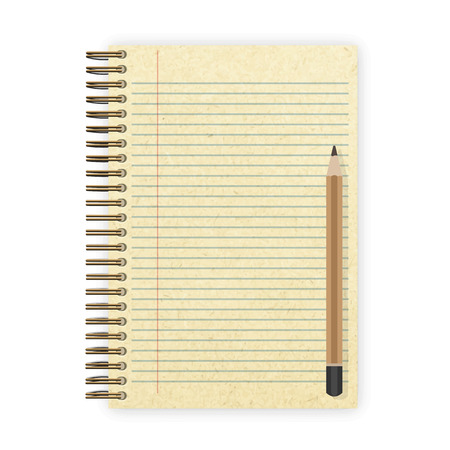 spiral notebook: blank realistic spiral notepad notebook and pencil vector