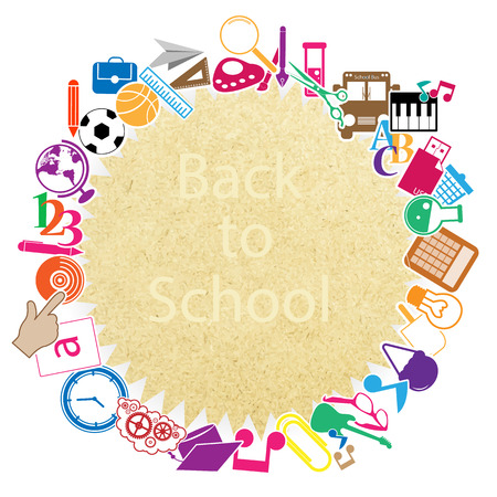 Back to School on paper Seamless children background Vector