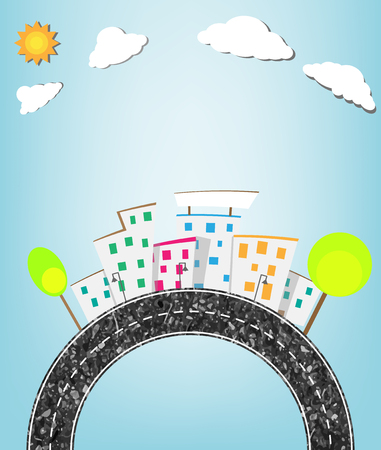 urban landscape and road Vector