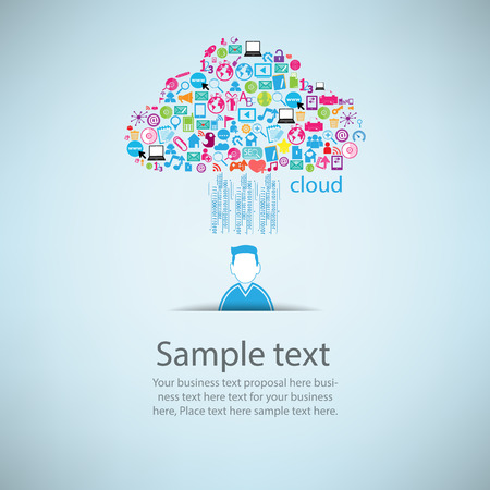 User clicking cloud icon. Concept vector illustration, EPS10. Vector