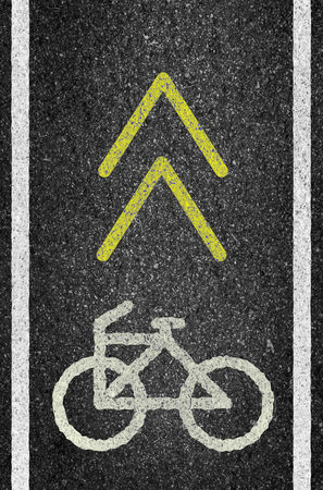 bicycle lane: Bicycle road sign and arrow of illustration