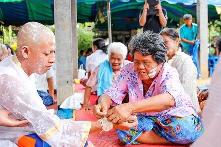 ordain: Phetchabun,THAILAND June 8 : Thai man during a Buddhist ordination ceremony. in Phetchabun Thailand on June 8, 2014 Editorial