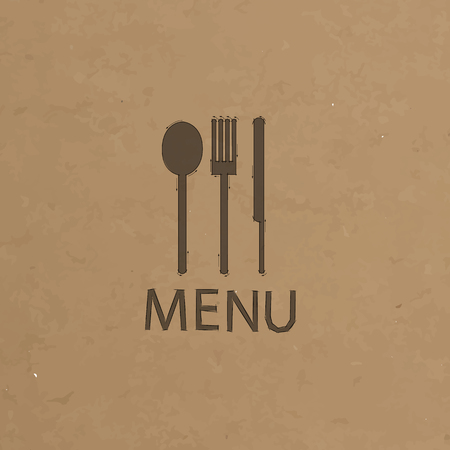 fork and knife recycled paper stick on pattern old paper background Vector