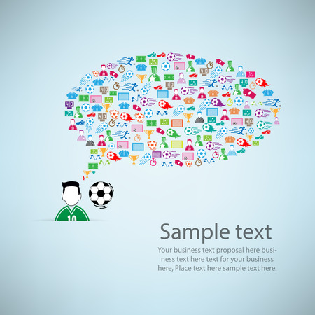 goal cage: Template design player idea with soccer icon background