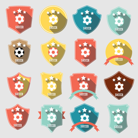premier: Set of vintage-style soccer championship labels including an image of a ball. Editable vector.