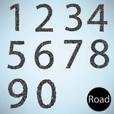 Set number road asphalt texture Vector